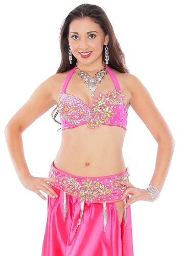 Rhinestone Belly Dance Costume Bra and Belt Set with Beaded Design - HOT PINK