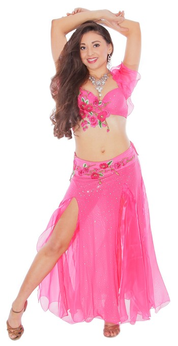 Floral Belly Dance Costume with Rhinestone Accents - HOT PINK