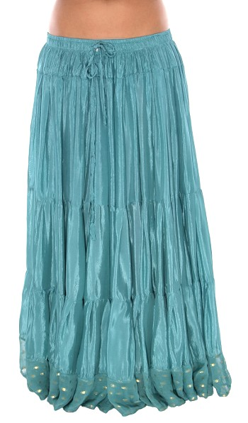 10 Yard Tiered Tribal Skirt with Lurex Trim - TEAL GREEN