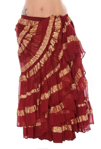 25 Yard Tribal Skirt with Gold Lurex Stripes - BURGUNDY