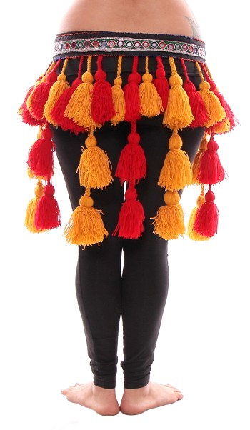 Tribal Tassel Belt with Shisha Mirrors and Pom Poms - RED / GOLD