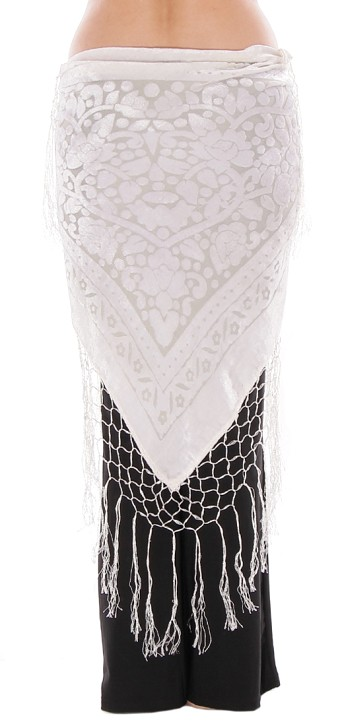 Floral Pattern Burnout Velvet Shawl Hip Scarf with Fringe - EGGSHELL WHITE
