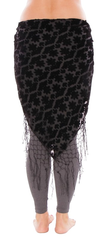 Petite Fleur Burnout Velvet Shawl Hip Scarf with Fringe - BLACK