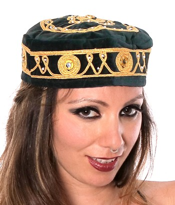 Embroidered Traditional Turkish Style Smoking Hat with Gold Accents - FOREST GREEN