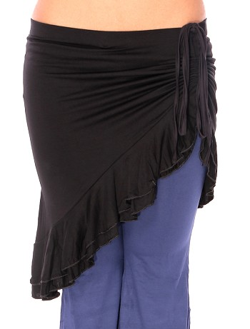 Tribal Fusion Ruched Overskirt with Ruffled Hem - BLACK