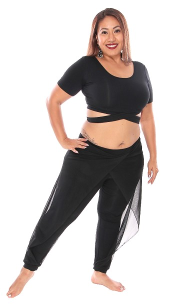 Criss Cross Crop Top and Mesh Drape Pants Set - BLACK