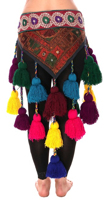 Tribal Tassel Belt with Embroidered Designs & Shisha Mirrors - EARTH TONES / BRIGHT COLORS