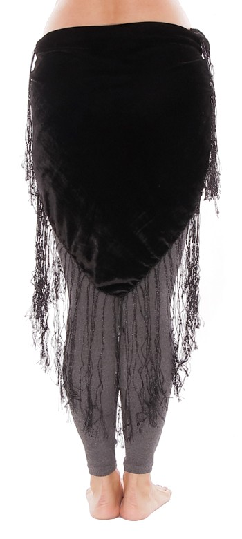 Velvet Tribal Belt Shawl with Medium Length Fringe - BLACK