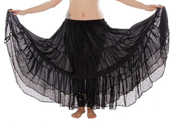 10 Yard Tiered Tribal Skirt with Lurex Trim - BLACK