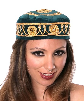 Embroidered Traditional Turkish Style Smoking Hat with Gold Accents - TEAL GREEN