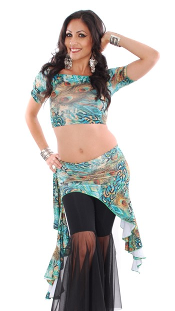 2-Piece Belly Dance Fusion Crop Top and Overskirt Set - PEACOCK