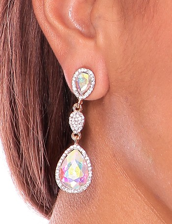 Iridescent Rhinestone & Crystal Teardrop Post Earrings - GOLD