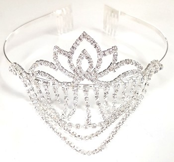Rhinestone Lotus Crown Tiara with Swags - DIAMONDS