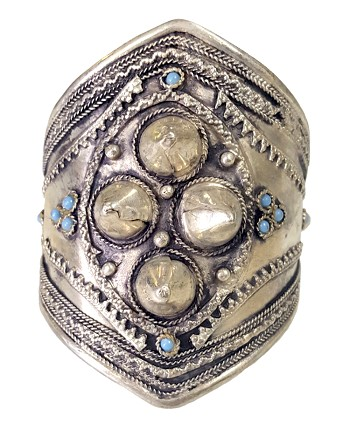 Afghani Kuchi Spiked Cuff Bracelet with Turquoise Accents