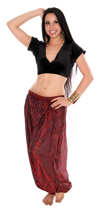 Tribal Brocade Harem Pants & Choli Set - RED / BLACK