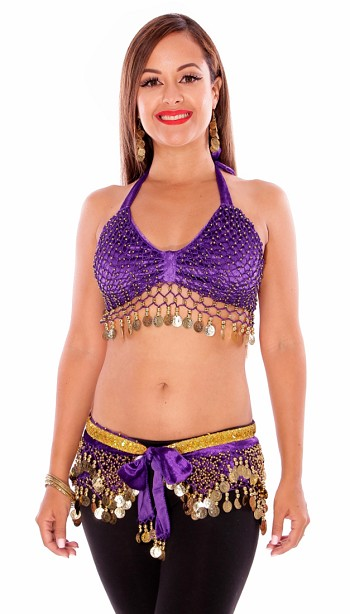 2-Piece Velvet Belly Dance Costume Set - PURPLE / GOLD