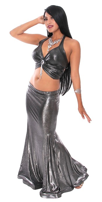 Metallic Belly Dance Costume Mermaid Trumpet Skirt and Halter Top with Jewel & Fringe (SET) - SHINY BLACK