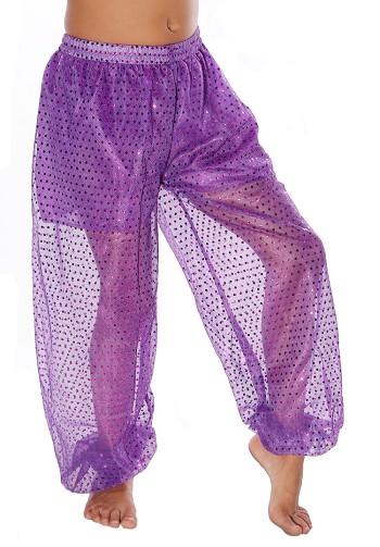 Little Girls Sparkle Dot Harem Pants - PURPLE