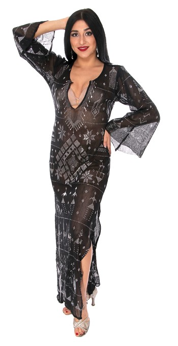 CAIRO COLLECTION: Long Sleeve Assuit Dress - BLACK / SILVER