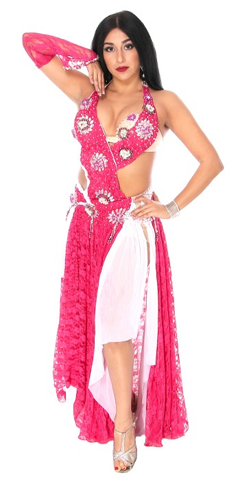 CAIRO COLLECTION: Professional Belly Dance Costume Dress from Egypt - RASPBERRY / PINK WHITE