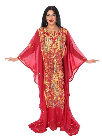 CAIRO COLLECTION: Traditional Khaleeji Thobe Dress Peacock Design - BURGUNDY