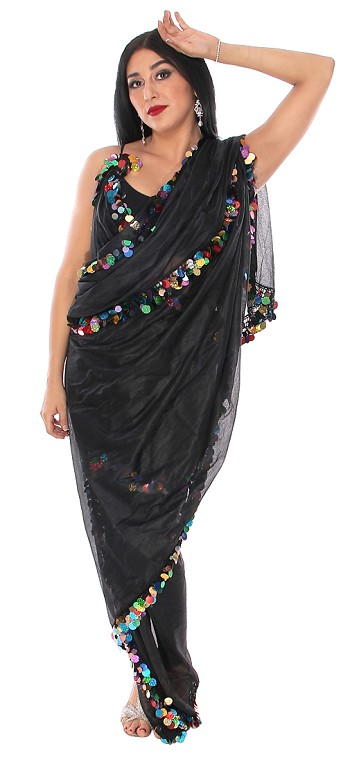 CAIRO COLLECTION: Melaya with Paillettes - BLACK / MULTI