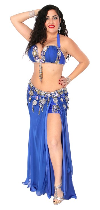 CAIRO COLLECTION: Professional Belly Dance Costume from Egypt - ROYAL BLUE SATIN / SILVER