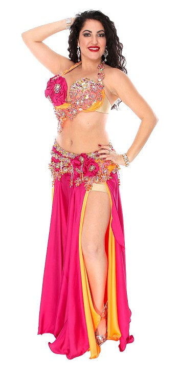 CAIRO COLLECTION: Professional Belly Dance Costume from Egypt - FUCHSIA / ORANGE