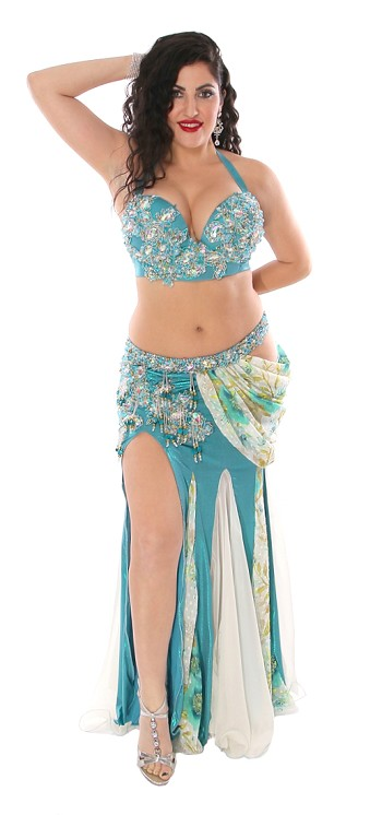 CAIRO COLLECTION: Professional Belly Dance Costume from Egypt - METALLIC TURQUOISE / WHITE FLORAL