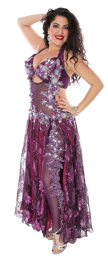 CAIRO COLLECTION: Professional Belly Dance Costume from Egypt with Mesh Bodysuit - PURPLE PLUM