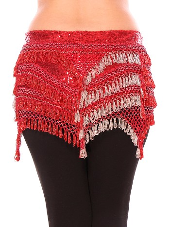 CAIRO COLLECTION: Beaded Pyramid Sequin Hipscarf - RED