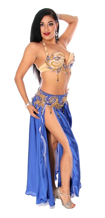 CAIRO COLLECTION: Professional Belly Dance Costume from Egypt - ROYAL BLUE SATIN / LIGHT NUDE