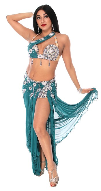 CAIRO COLLECTION: Professional Belly Dance Costume from Egypt- TEAL GREEN / SILVER