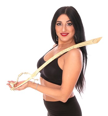 PETITE Lightweight Brass Egyptian Belly Dance Prop Sword with Curved Handle - GOLD