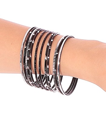 Etched Metal Bangles SET of 12 - BLACK