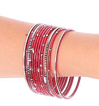 Etched Metal Bangles SET of 12 - RED