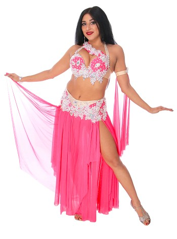 CAIRO COLLECTION: Professional Belly Dance Costume from Egypt - HOT PINK / WHITE