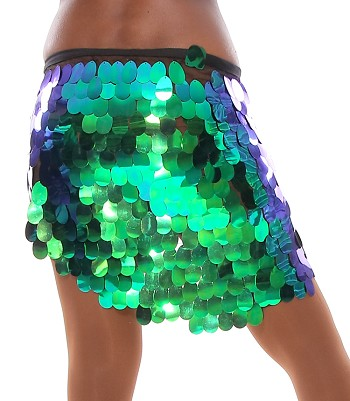 Hip Wrap with Paillettes - IRIDESCENT GREEN BLUE