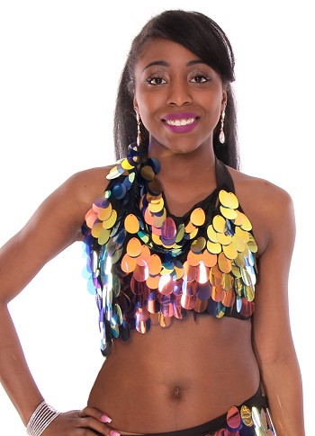 Paillette Costume Bra - IRIDESCENT BLACK OPAL