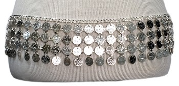 Metal Coin Costume Belt - SILVER