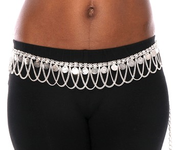 Metal Mesh Coin Costume Belt with Chain Drapes - SILVER