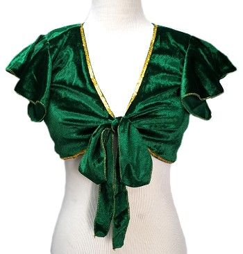 Velvet Tie Front Half Top Choli with Ruffle Cap Sleeves - EMERALD GREEN / GOLD