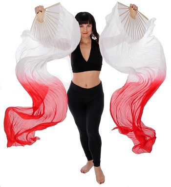 Silk Fan Veils Dance Prop (Set of 2) - HIBISCUS