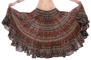 25 Yard Printed Cotton Tribal Gypsy Dance Skirt - DEEP BURGUNDY / BLACK / YELLOW