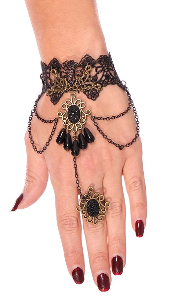 Lace Gauntlet Bracelet with Attached Ring - BLACK