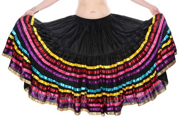 15 Yard Cotton Skirt with Multi-Colored Satin Ribbons - BLACK