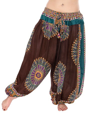 4.5 Yard Full Pantaloon Mandala Harem Pants - CHOCOLATE