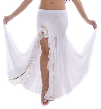 Egyptian Style Belly Dance Skirt with Ruffle Side Slit and Sequin Trim - WHITE / GOLD