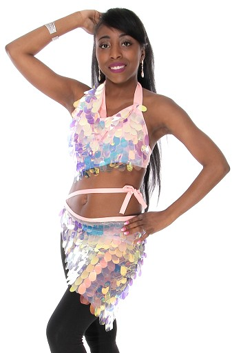 Paillette Costume Bra and Hip Wrap Set - IRIDESCENT WHITE OPAL