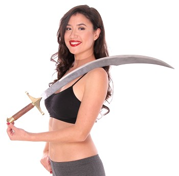 Baladi Scimitar Sword with Wooden Handle and Faux Leather Sheath